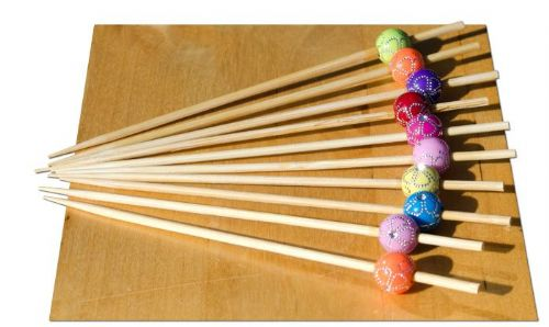 Chrystal flower bead wood skewer - 12cm x 100 - GOTO